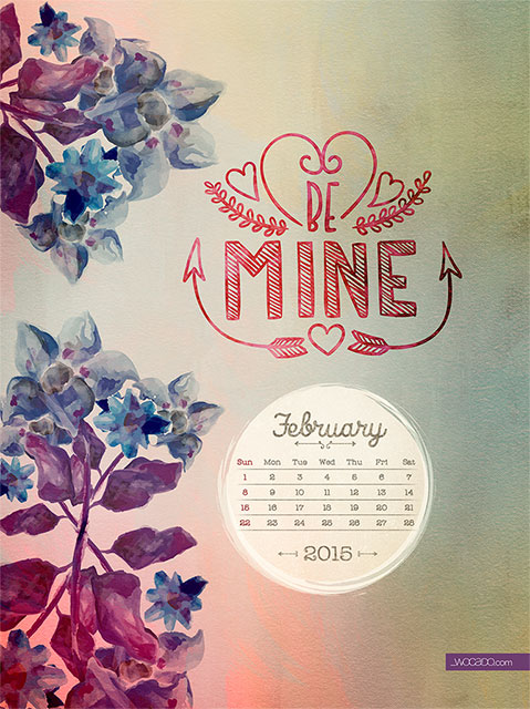 February Wallpaper Calendar FREE by WOCADO