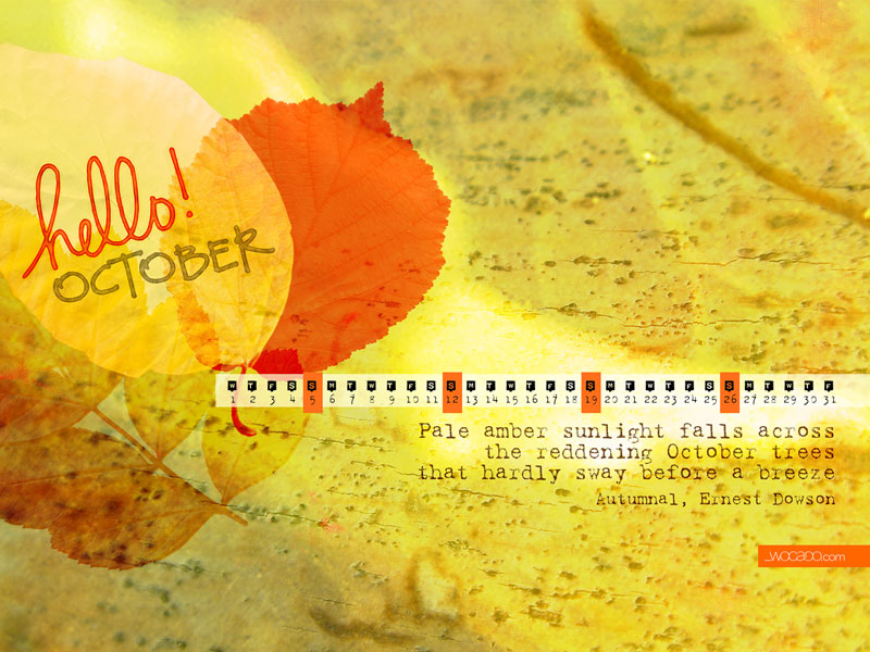 October 2014 Wallpaper Calendar by WOCADO - Free Download