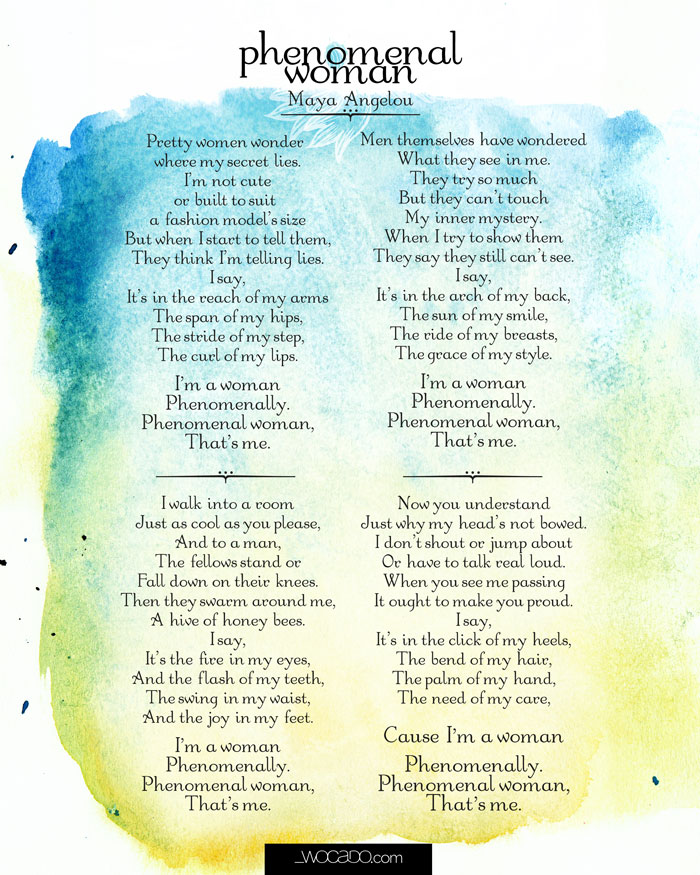 Maya Angelou Phenomenal Woman Poem